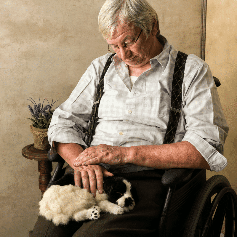 Senior with his puppy