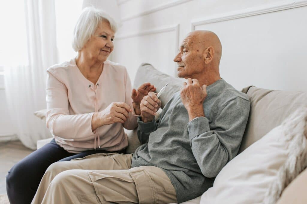 Couple discussing Assisted Living Care